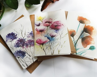 Summer Blossoms, Set of 3 Assorted Flower Design Cards, Wild Flowers, Folded Note Cards, Blank Cards, Greeting Cards