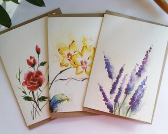 Floral Cards, Set of 3 Assorted Flower Design Cards, Red Roses, Yellow Orchids, Lavender, Folded Note Cards, Blank Cards, Greeting Cards
