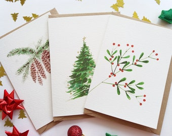Christmas Cards - Set of 3 Assorted Cards, Pine Cones, Mistletoe, Evergreen Christmas Tree, Originally Hand painted, Holiday Greeting Cards