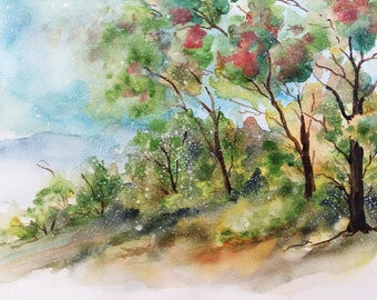 A Row of Trees, Trees Avenue, Gicleé Print, Art Print, Original Watercolor Painting