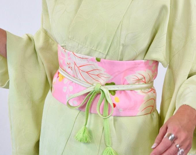 Kimono Belt / Easy to Wear / Vintage Kimono Silk / Shot Cut Obi Belt / Wrap belt  /  Sash /  Original Japanese