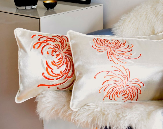 Obi Throw Cushions made of Japanese Vintage Silk in off white with fire lilies, limited edition,  rare pieces, Japanese precious cushion