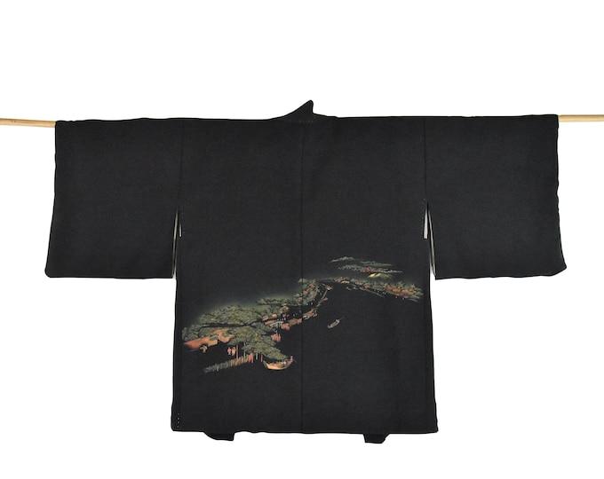 Cleaned Original Japanese Vintage Haori/ black short silk Ladies Kimono Jacket /  Vintage short Kimono / Wabi Sabi /