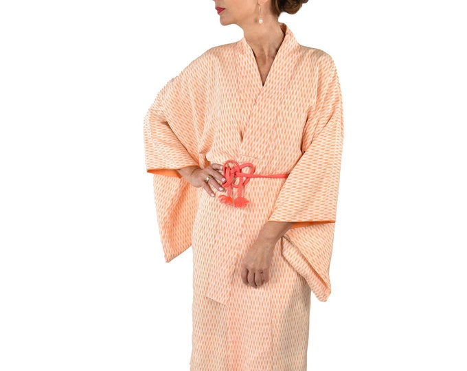 Cleaned Japanese Vintage Kimono Robe in orange and off white incl. silk Obijime / dressing gown / Lounge Wear / including Silk Belt
