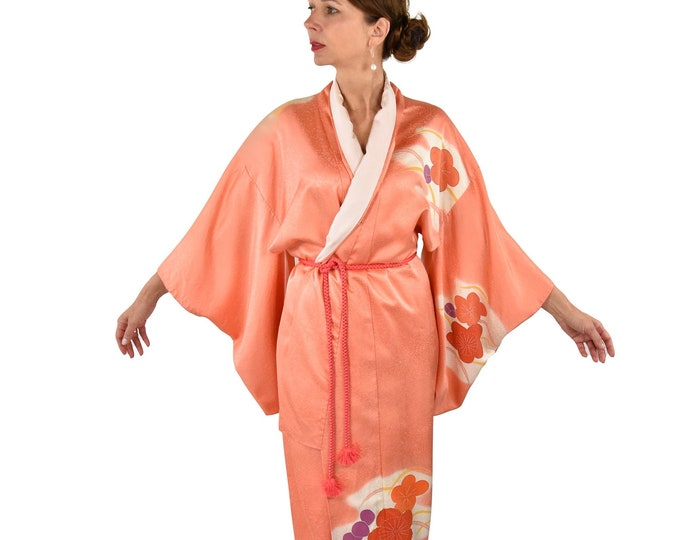 """Cleaned Japanese Vintage Kimono Robe """" Ume"""" with silk Obijime belt  / sexy dressing gown / Lounge Wear / including Silk Belt"""