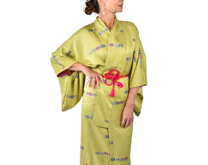 Cleaned Japanese Vintage Kimono Robe  green with silk Obijime belt  / sexy dressing gown / Lounge Wear / including Silk Belt / dressing gown