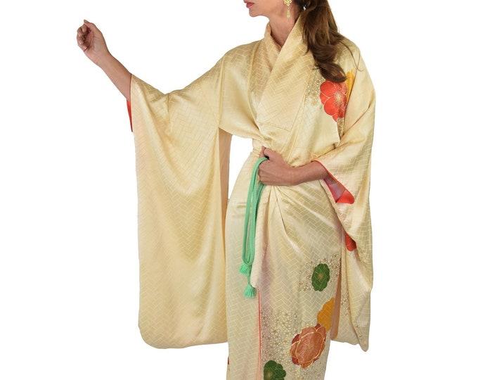 Eleganter Furisode Kimono, Vintage Silk, Kaftan, Present, Rare piece, Interior Accessory