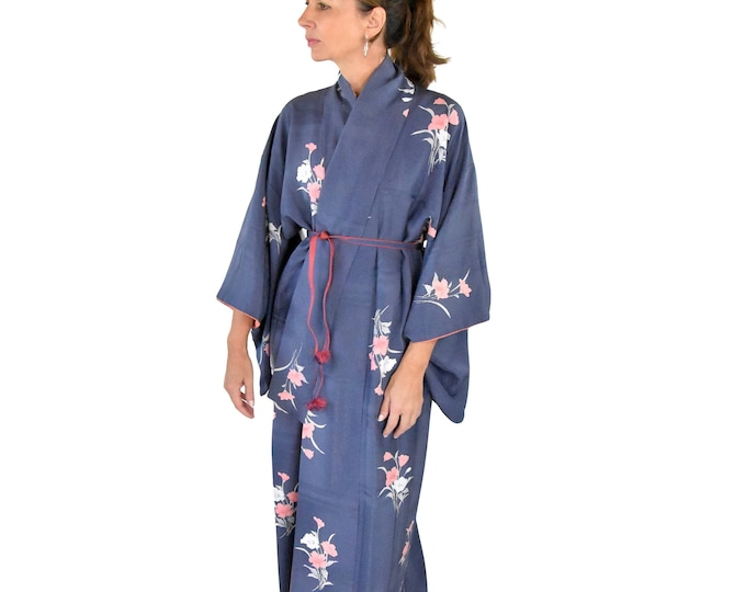 Cleaned Japanese Vintage Kimono Robe blue with flowers and silk Obijime belt / High quality dressing gown / Lounge Wear /