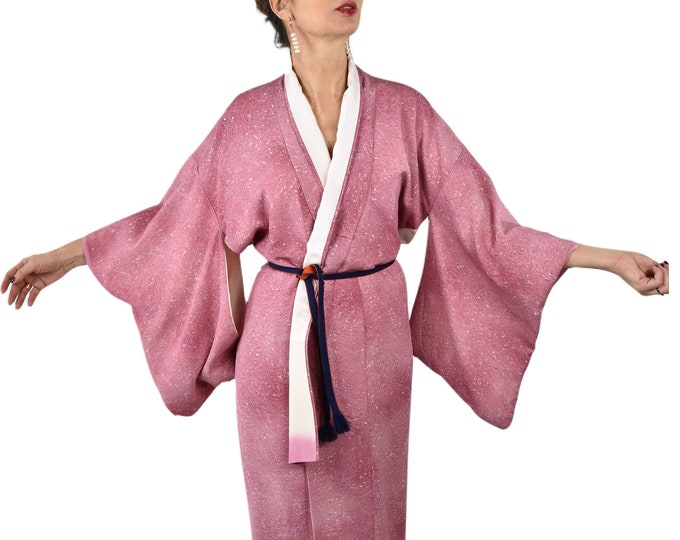 Cleaned Japanese Vintage Kimono Robe  in pink with matching Obijime belt,  sexy gown, Lounge Wear, dressing gown, sustainable fashion