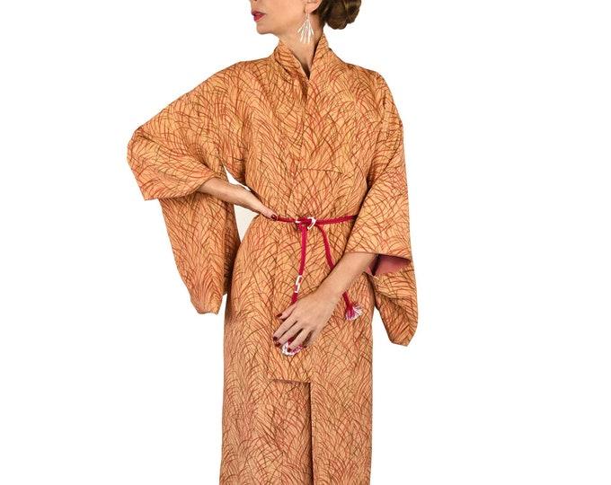 Japanese Vintage Kimono with Grasses/ Silk Kimono Robe including pink silk Obijime belt/ Kaftan / Present for her / ready to wear