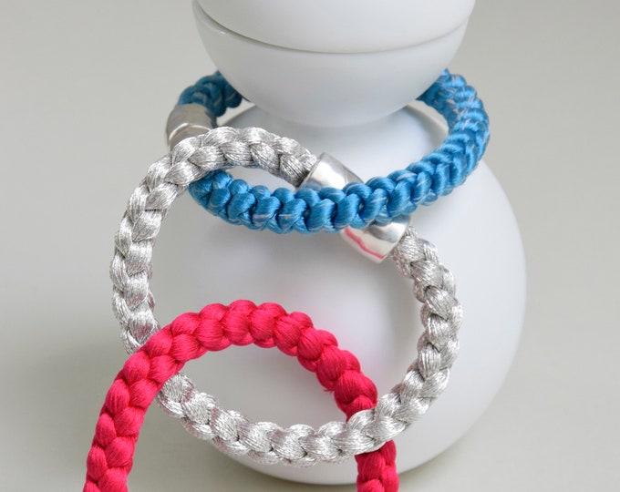 "Bracelet ""Natsu"", Japanese Vintage Obijime Accessoire, Wabi Sabi Silk Bangle, Kumihimo Bracelet, Friendship, Summer, hand braided, Kimono"