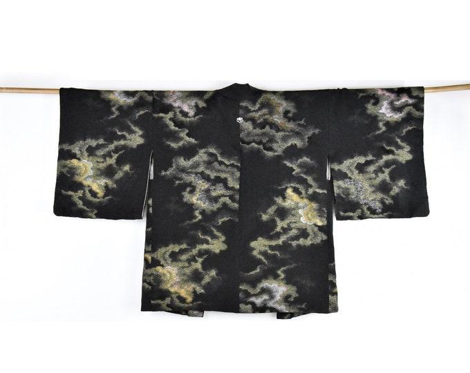 Cleaned Original Japanese Haori/ black short silk Kimono Jacket / Evening Jacket / Wabi Sabi /