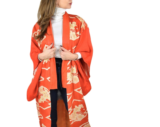 Antique Japanese Vintage Kimono orange red silk / Silk Coat / cleaned and  ready to wear / Tunic / Ladies Summer Coat / Kaftan / gown