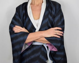 0b6beca9591 Japanese Vintage Kimono Robe in blue and black with free Obijime belt,  unisex Gown,