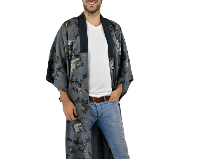 Cleaned Kimono for men/ Wall Decoration / Vintage Kimono Coat/  Nagajyuban / Unisex / House Wear / Present for him