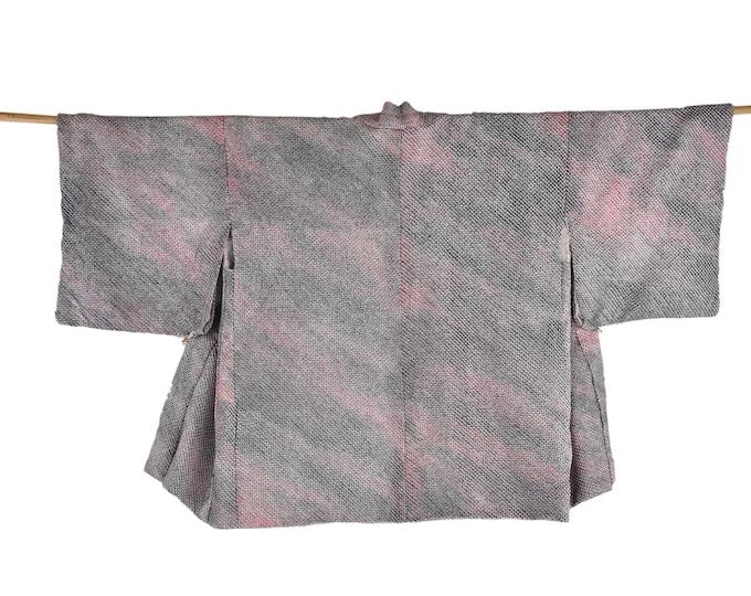 Kimono Jacket / Cleaned Vintage Haori / Shibori Batik / grey, purple and pink / Silk Short Kimono Jacket  / Wearable Art