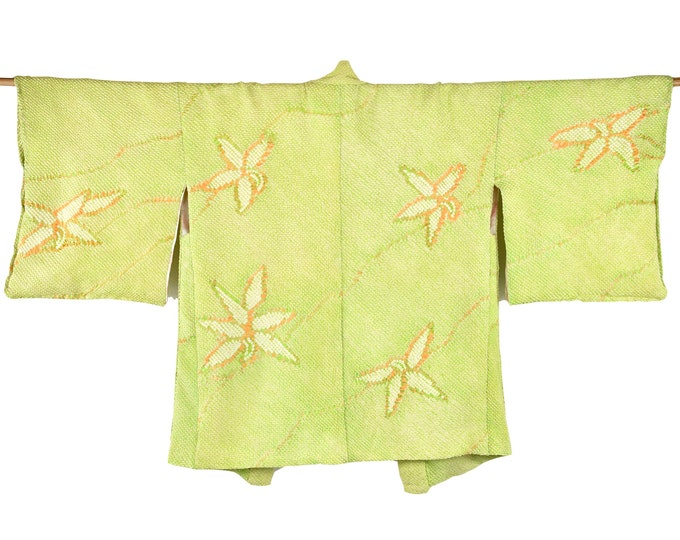 Japanese Cleaned Vintage Haori / Shibori Batik / Silk Kimono Jacket green / Wearable Art / Shibori Batik / Short Kimono / Excellent Quality