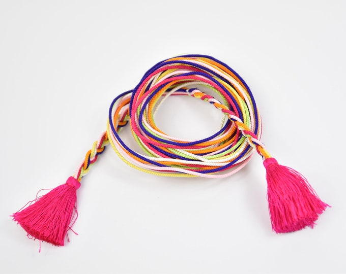 Obijime, Colorful Kumihimo Belt , Silk Cord, Silk Belt, Kumihimo Belt, Silk Necklace, Present, Boho Chic, Kimono Maedchen