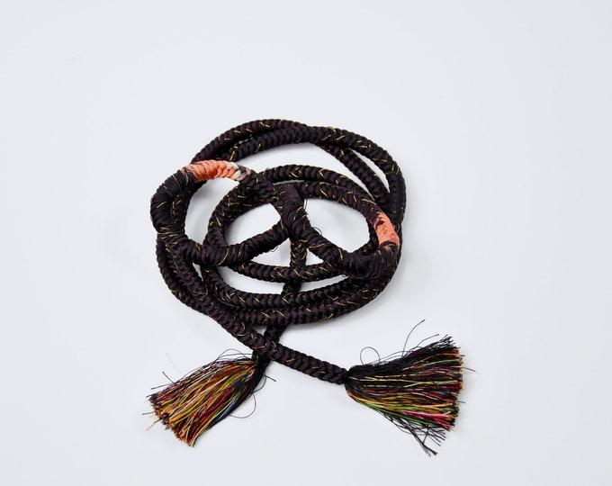 Obijime Belt, Kumihimo Cord in Dark Purple Aubergine, Silk Cord, Silk Belt,