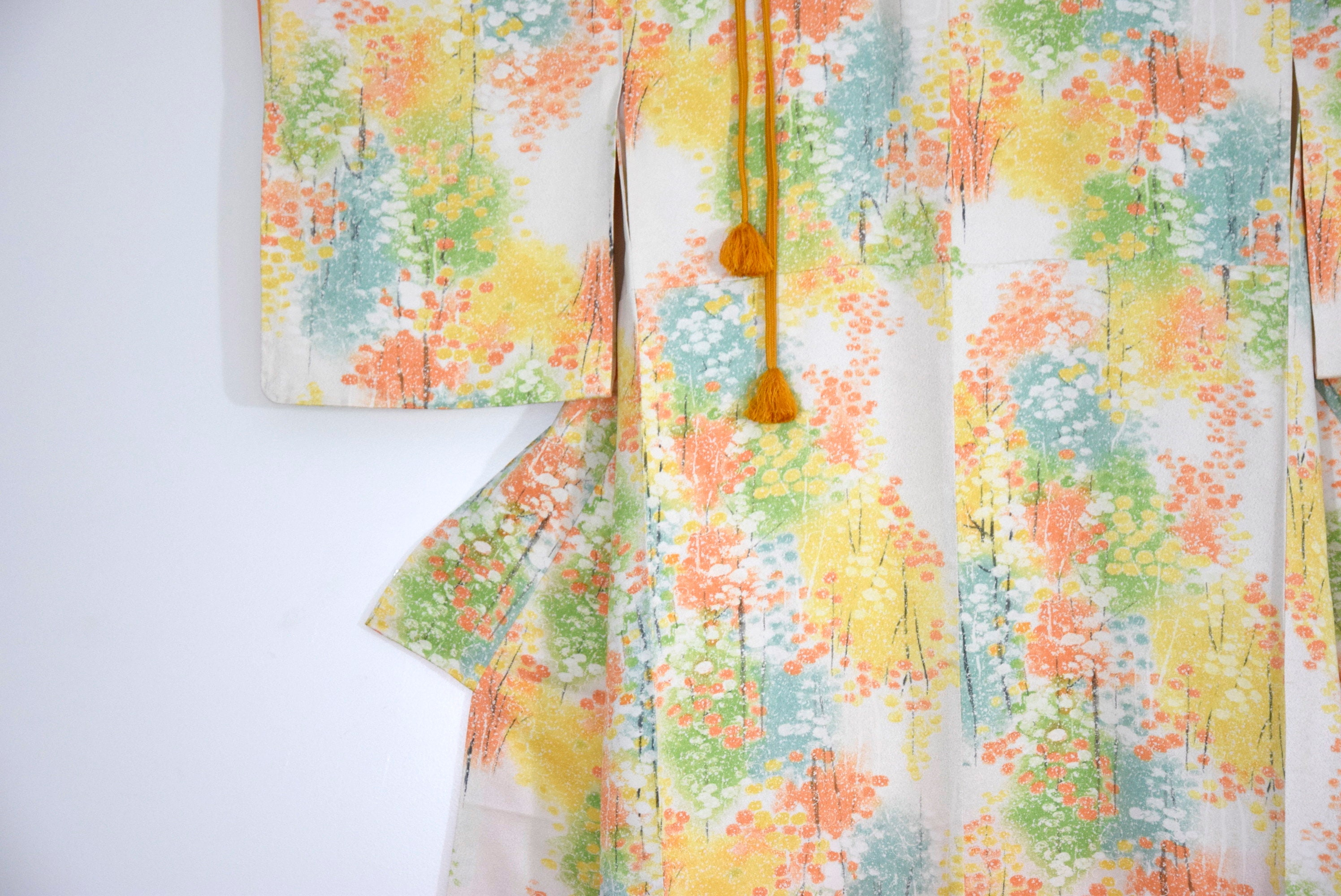 Japanese Vintage Silk Kimono Spring with Obijime belt, Silk Gown ...