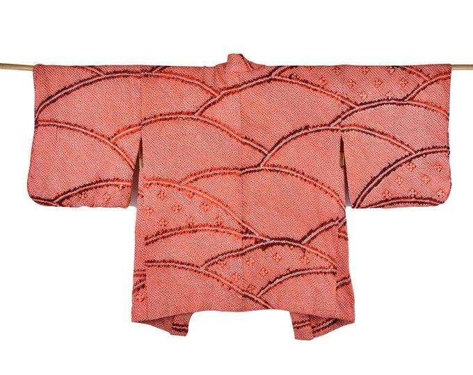 Kimono Cadigan/ Orange/ Cleaned Antique Haori / Shibori Batik / Silk Kimono Jacket  / Wearable Art / Shibori Batik / Short Kimono