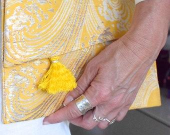 Clutch, iPad Case aus Vintage Kimono Obi, Abendtasche, Etui, iPad Hülle, Case, Geschenk,  japanischer Seidenbrokat, KimonoMädchen