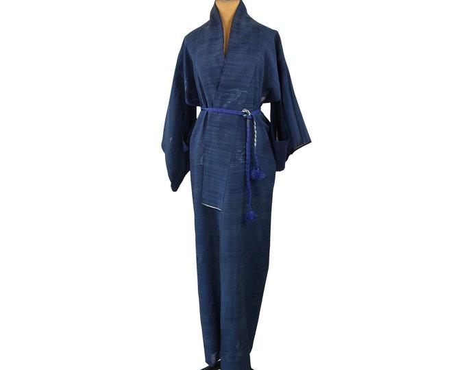 Cleaned Sexy Kimono Coat including Silk Kumihimo Belt, Transparent, Blue, Vintage, Tunic, Kaftan, Lounge Wear, Beach Wear