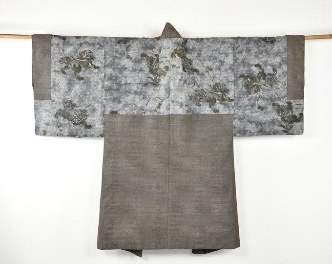 Cleaned Kimono Jacket /  Men Haori / Interior Decoration / Vintage Silk Haori/  Unisex / Reversible / Present for him