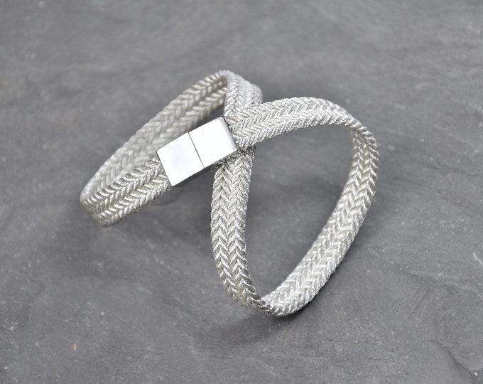 "Bracelet ""Ginga"" / 銀河 / Japanese Vintage Obijime Accessory / Wabi Sabi / Silk Bangle / Kumihimo Bracelet / Present / Limited number"