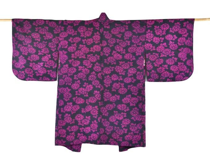 Cleaned Japanese short Kimono / silk Haori / Meisen Silk Kimono Jacket / Japanese short Kimono / sustainable fashion,