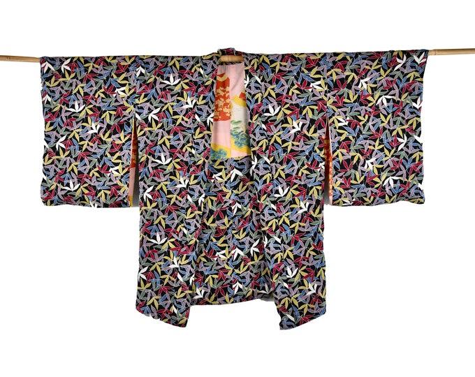 Kimono Jacket, Cleaned, Antik Silk Haori, Japanese short Kimono, reversible, sustainable fashion,