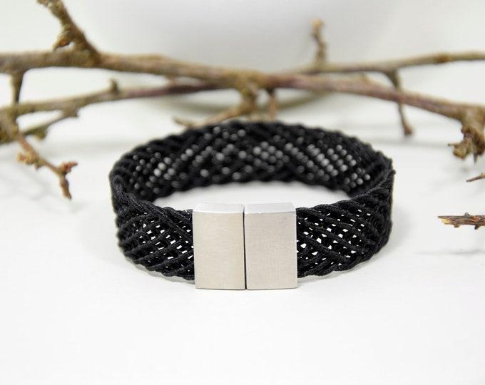 "Bracelet ""Ami"", Japanese Vintage Obijime Accessory, Wabi Sabi,  Modern Silk Bangle, Present, Japanese handcraft, Present or him or her"
