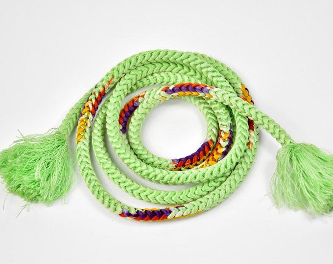Obijime, Kumihimo Green, Silk Cord, Silk Belt, Kumihimo Belt, Silk Necklace, Present, Boho Chic, Kimono Maedchen