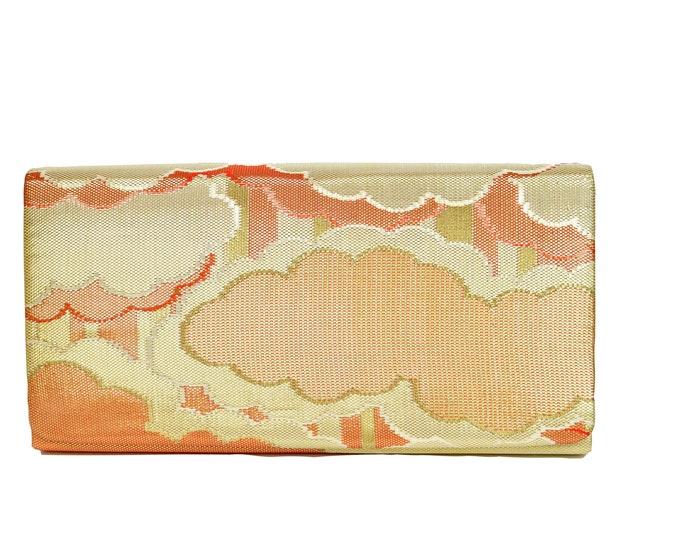 Kimono Clutch / Elegant Evening bag silk / Japanese Vintage / orange gold  / sustainable fashion  /Etui / Japanese fabric / One of a kind