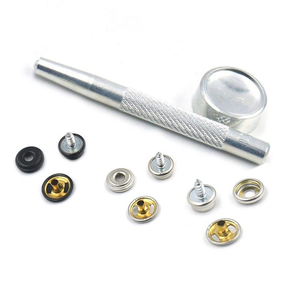 "Stainless Steel with 1/"" Inch Screw Stud 50 of Each Pc. Cap /& Socket Snap Set"