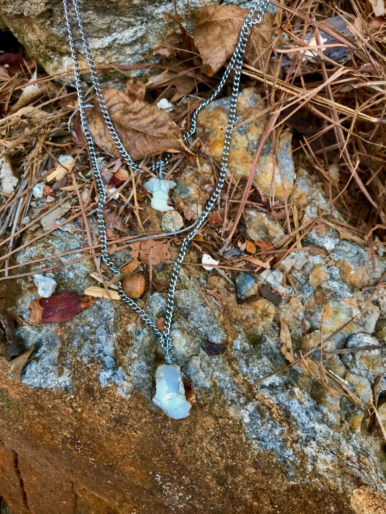 Multi strand steel and raw opal necklace
