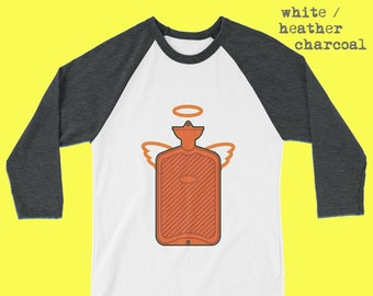 d4fea863a Hot Water Bottle Angel with Halo and Wings 3/4 sleeve raglan tee shirt  assorted colour combinations