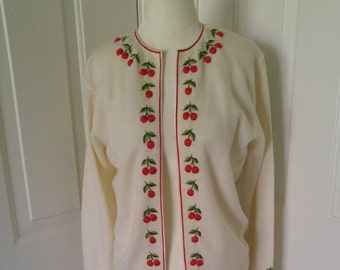 adorable vintage 1950s cream cashmere blend cardigan with cherry detail soda shop swing