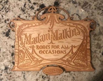 Laser Engraved Madam Malkins Wooden Sign