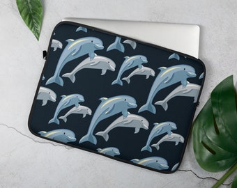 Taupe Colored Embroided Dolphin Vinyl Case