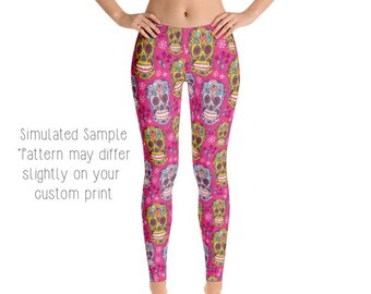 4cb7cd30b5e1d6 SUGAR SKULL LEGGINGS, Yoga Pants, Day of the Dead, Dia de los Muertos,  Skulls, Halloween, Coco, Kids, Youth, Capri, Plus -Skulls17