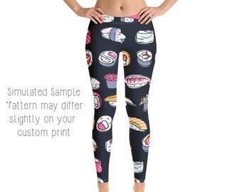 fdcae81301 SUSHI LEGGINGS, Yoga Pants, Japanese, Japan, Rolls, Sashimi, Seaweed,  Wasabi, Ginger, Sushi Roll, Fish, Kids, Youth, Capri, Plus -Sushi3