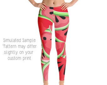 cce738ae6e WATERMELON LEGGINGS, Yoga Pants, Fruit, Delicious, Tropical, Watermelons,  Slices, Seeds, Kids, Youth, Capri, Plus -Watermelon2