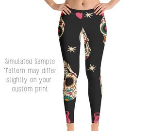 040efa275b718e SUGAR SKULL LEGGINGS, Yoga Pants, Day of the Dead, Dia de los Muertos,  Skulls, Halloween, Coco, Kids, Youth, Capri, Plus -Skulls4