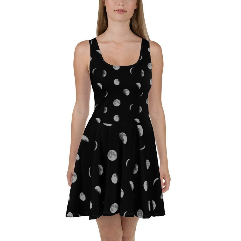 Planet Stretchy Fitted Dress full moon Casual Space Eclipse solar system crescent Moon Phases Flowy Skater Dress Stars Skater Skirt