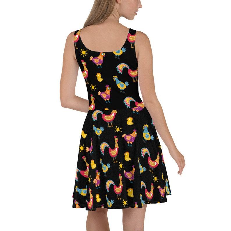 Pet farm Fowl Birds Rooster Backyard Hen Flowy Skater Dress OR Stretchy Fitted Dress Chicken Cluck Flowers Fun Casual farmer