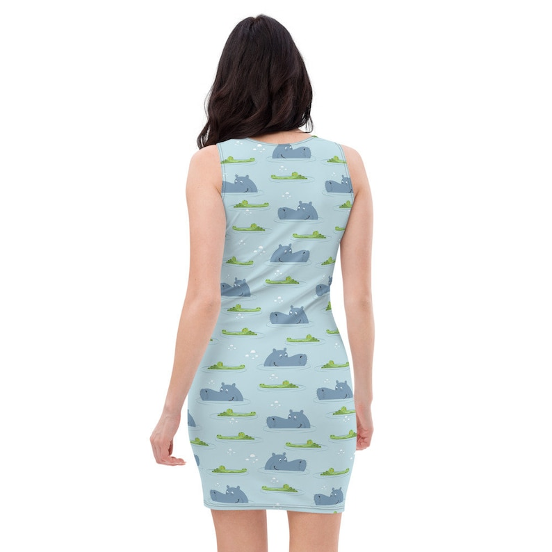Women Party Hippos and Crocodile Stretchy Fitted Dress or Flowy Skater Dress Girls Evening Casual Fun Date Night Cocktail Croc Ladies