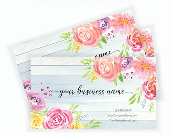 Floral business card etsy floral business card design business card template flowers roses to print business instant download accmission Choice Image