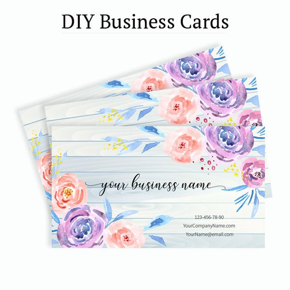 Floral business card design business card template flowers etsy image 0 friedricerecipe Images