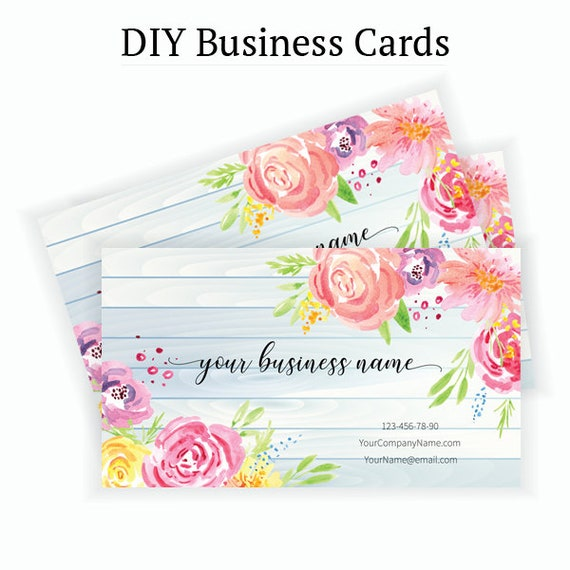 Floral Business Card Design Business Card Template Flowers Roses To Print Business Instant Download
